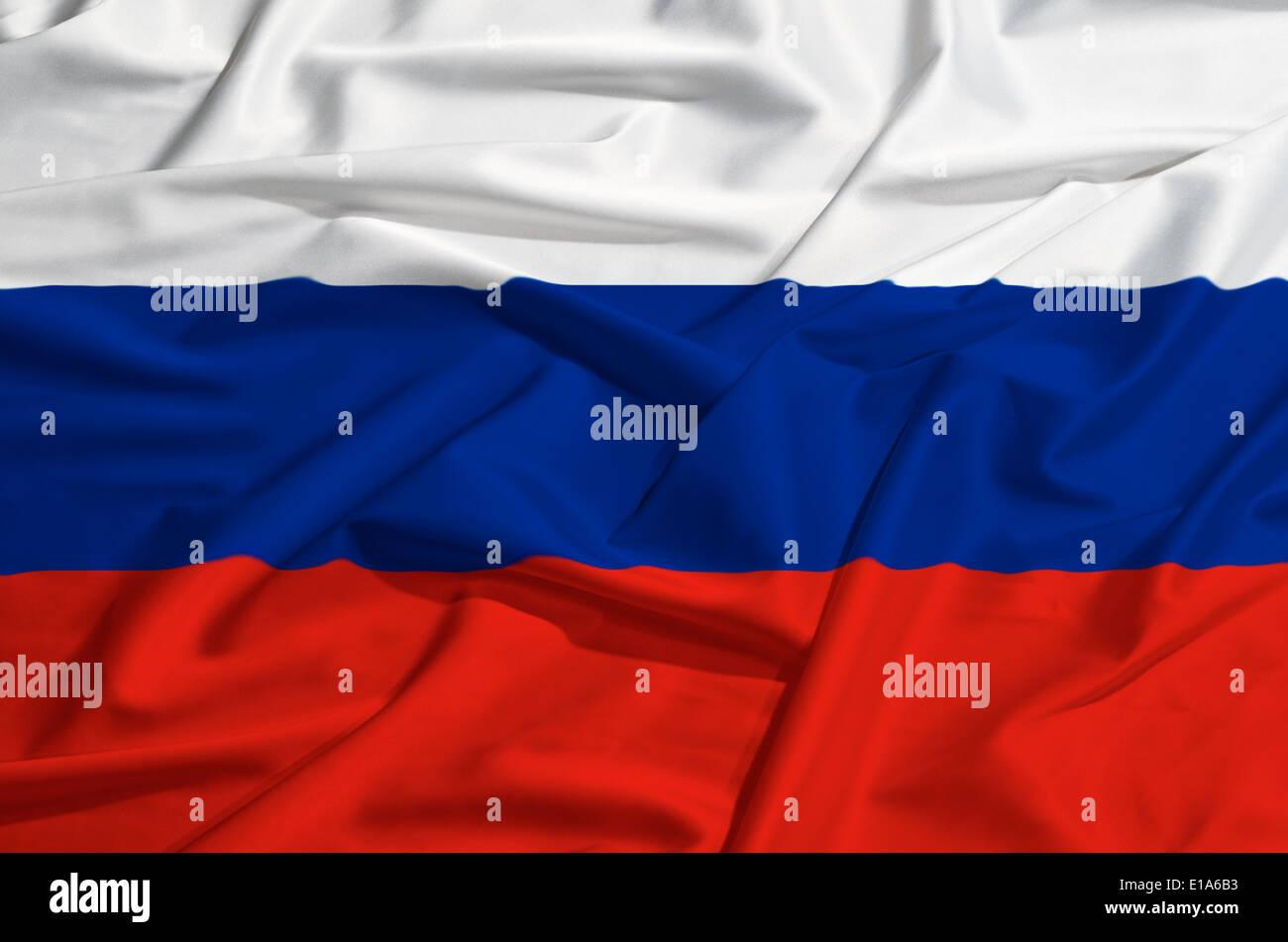 Russia flag on a silk drape waving - Stock Image