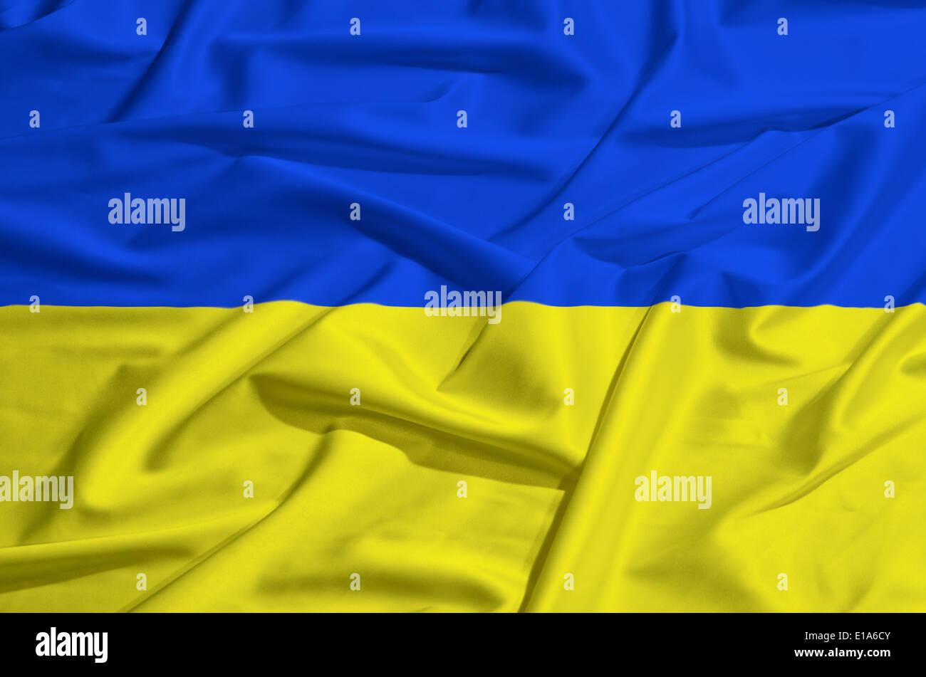 Ukraine flag on a silk drape waving - Stock Image
