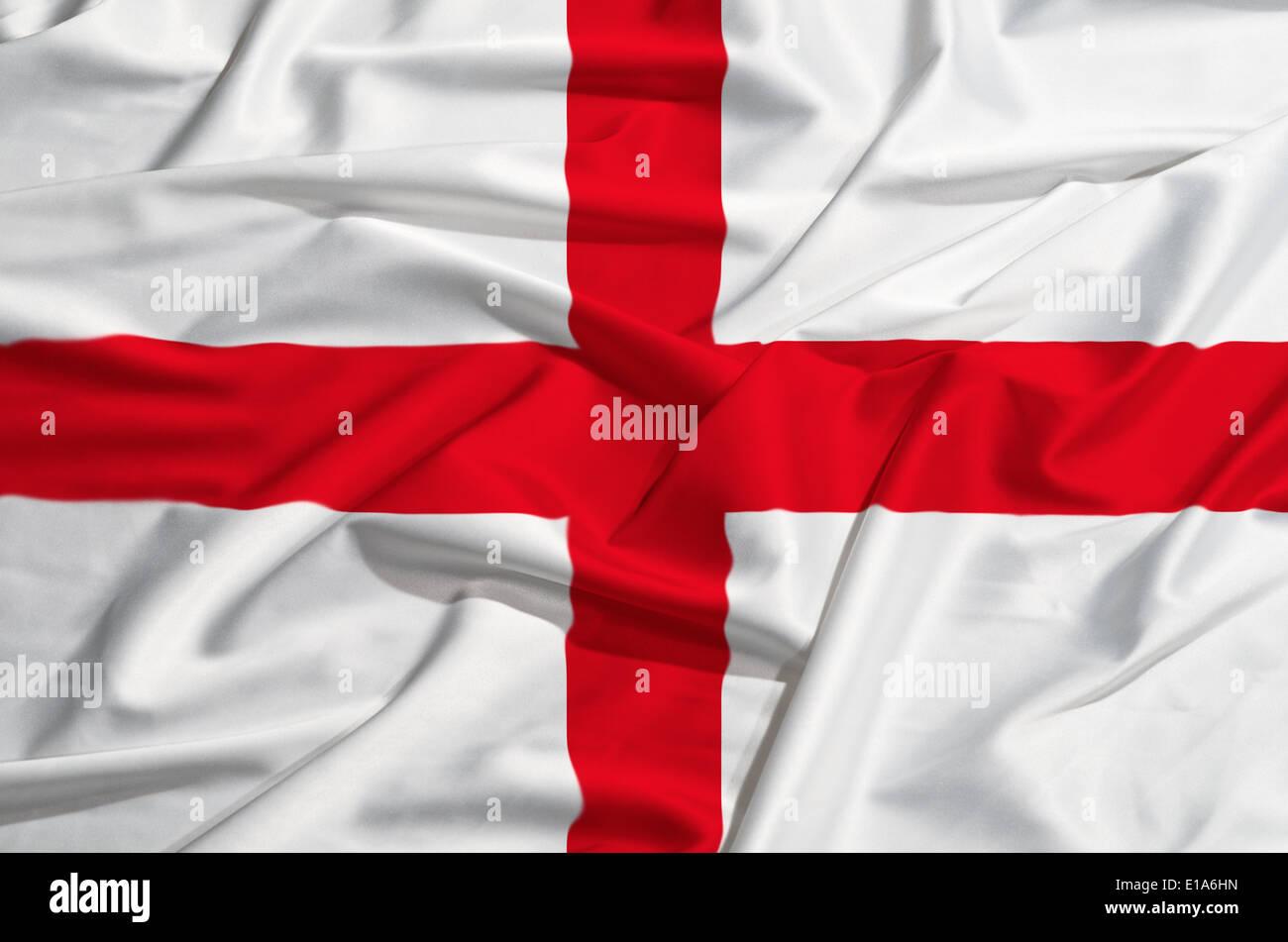 England flag on a silk drape weaving - Stock Image