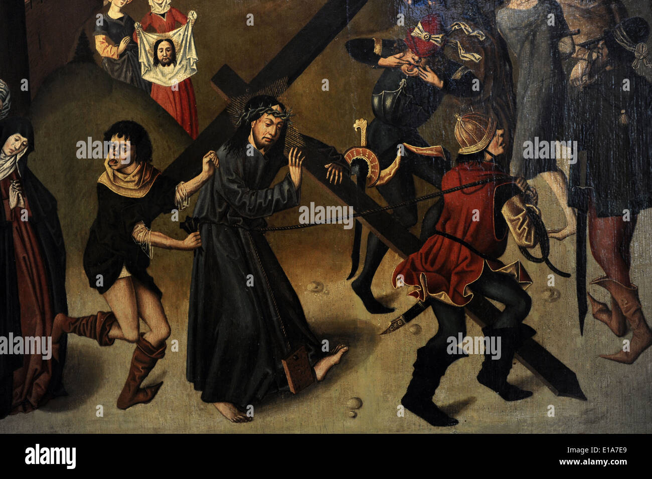 Scenes from the Passion of Christ, ca. 1470. Anonymous. Haarlem?. Detail of Christ carrying the cross. - Stock Image