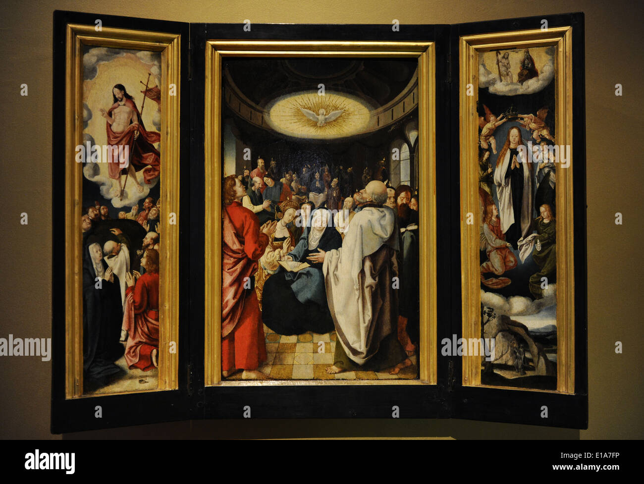 Disciples of Lucas van Leyden (1494-1533). Triptych with Descent of the Holy Spirit. 16th century. - Stock Image