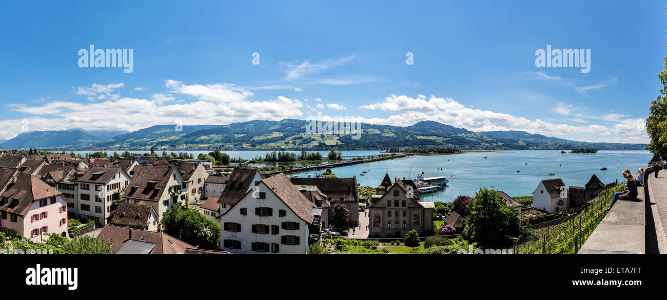 Panorama view taken in Rapperswil - Stock Image