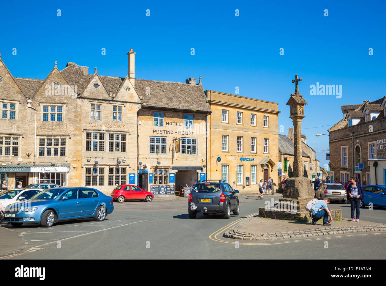 Market Square, Stow on the Wold, Cotswolds, Gloucesterstershire, England, UK, EU, Europe Stock Photo