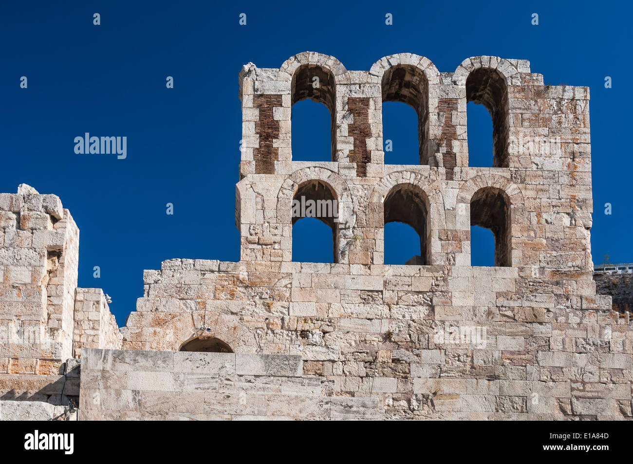 Athens, Greece. Ruins of Odeon Theatre, ancient classical greek architecture. - Stock Image