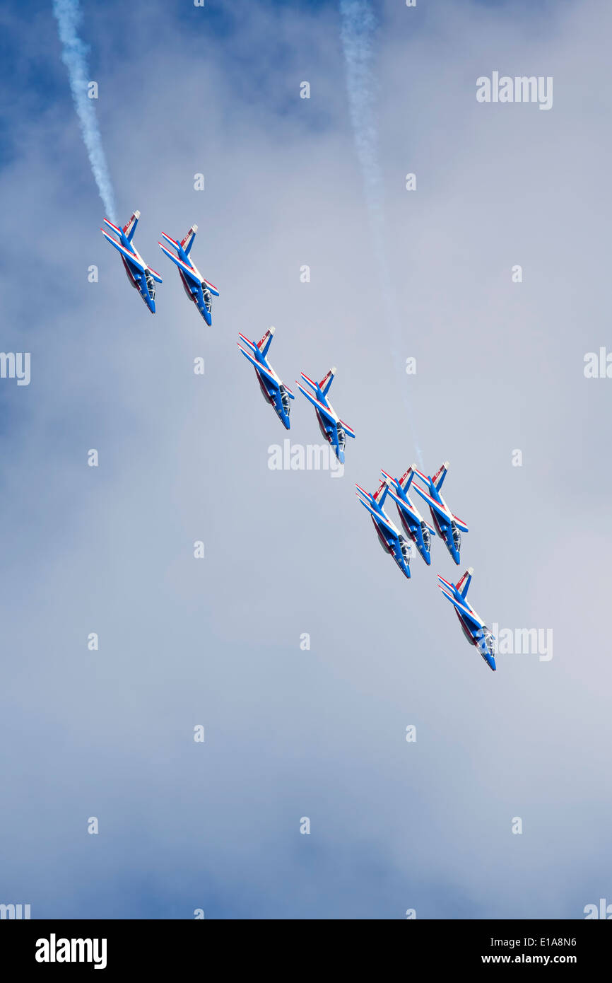 Patroulle de france aerobatic performing at Duxford, England. - Stock Image