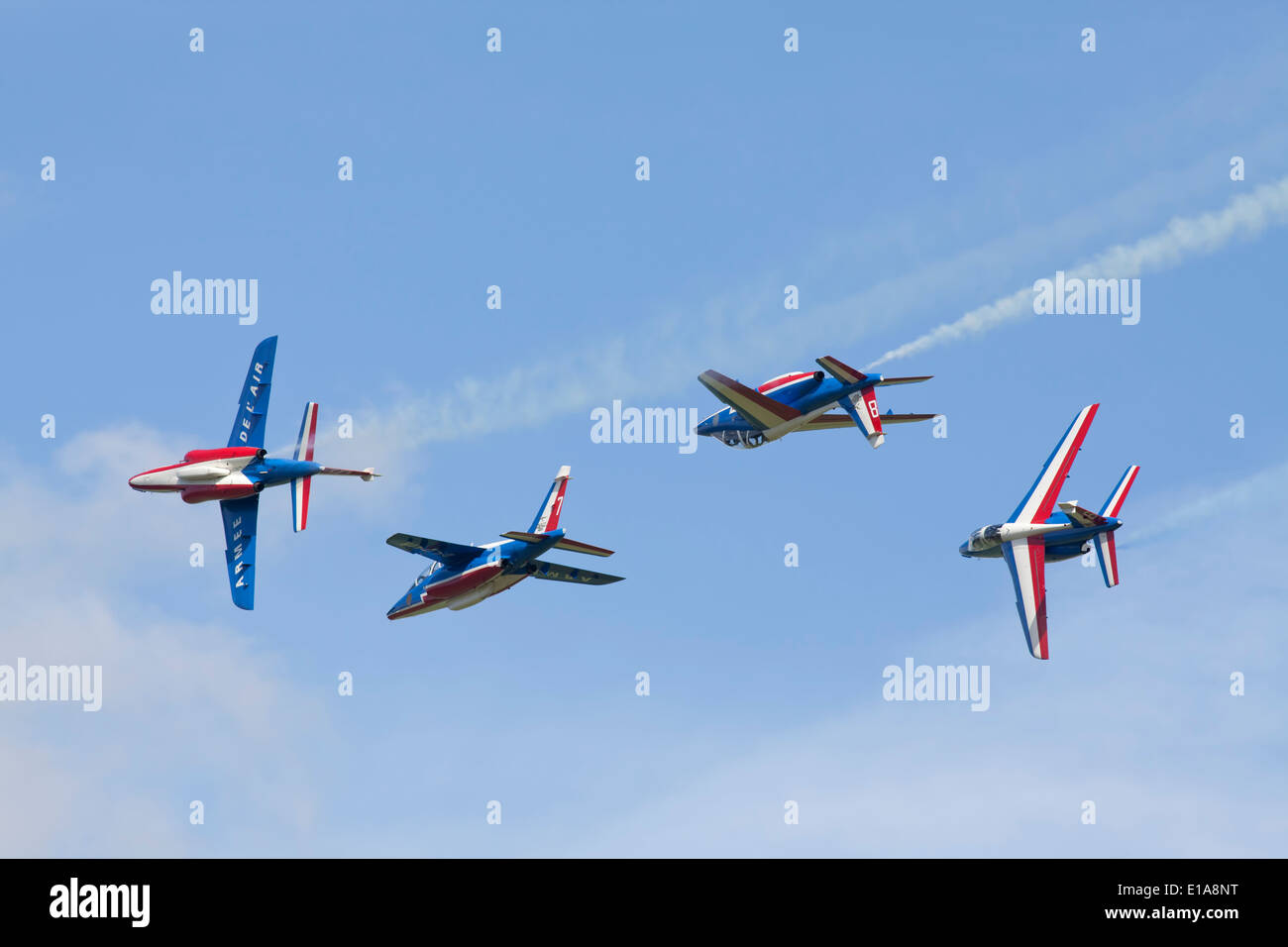 Patroulle de france aerobatic performing at Duxford, England. Stock Photo