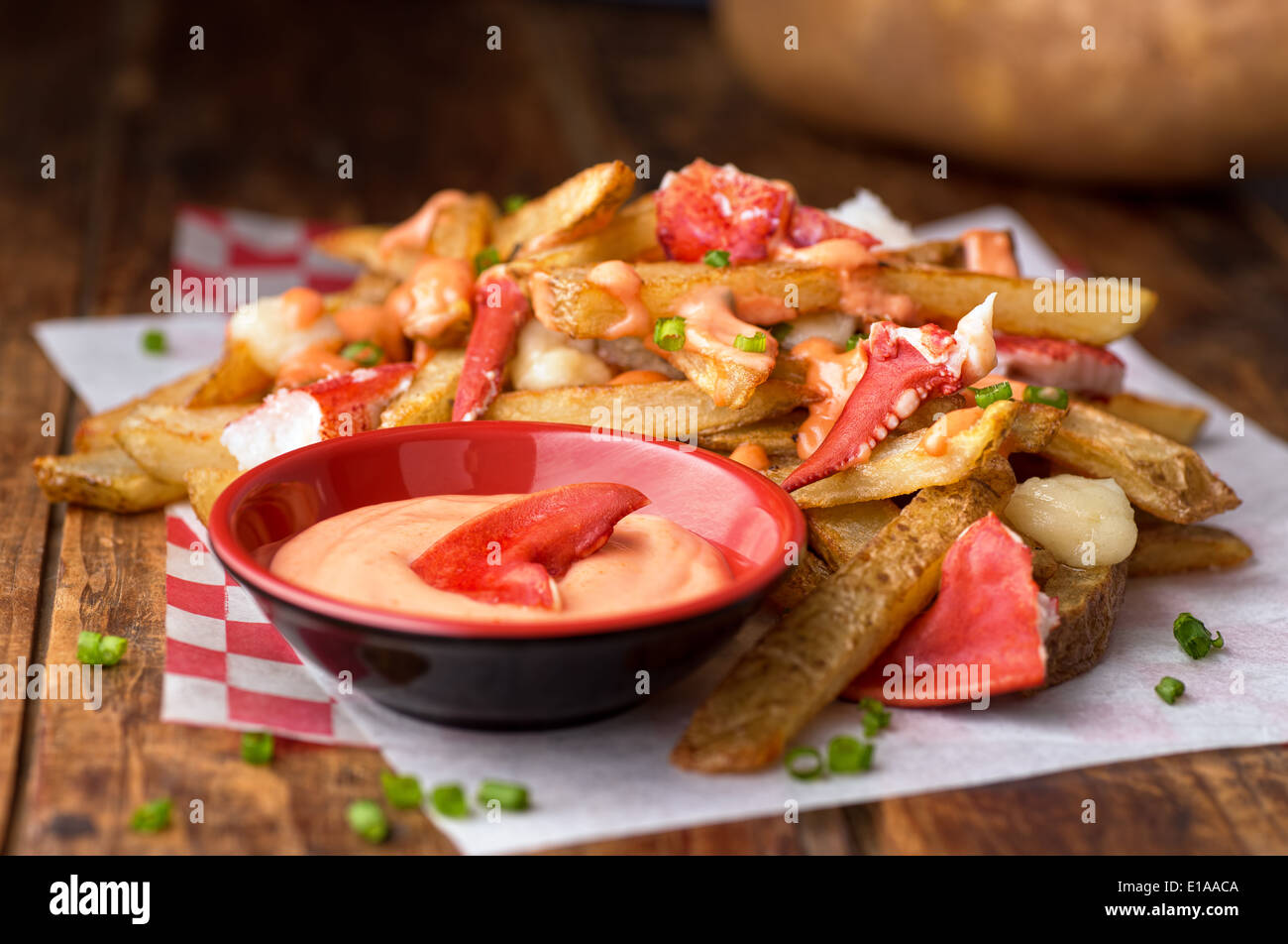 A decadent lobster poutine with lobster, home made french fries, cheese curds, special sauce, and green onion. - Stock Image