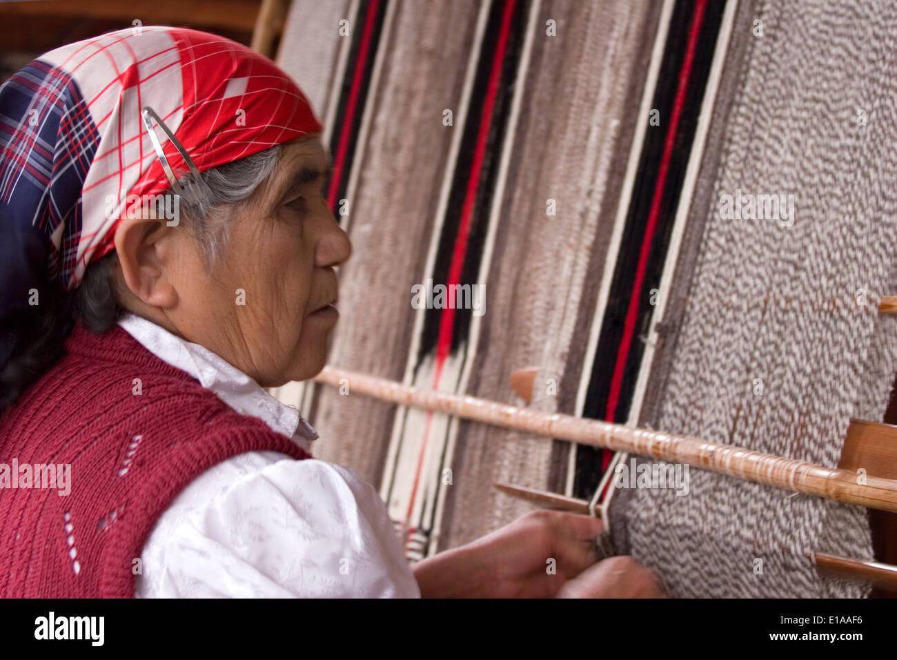 Mapuche woman ('Rosa'), Mapuche Market, Villarica, Lake District, Chile - Stock Image