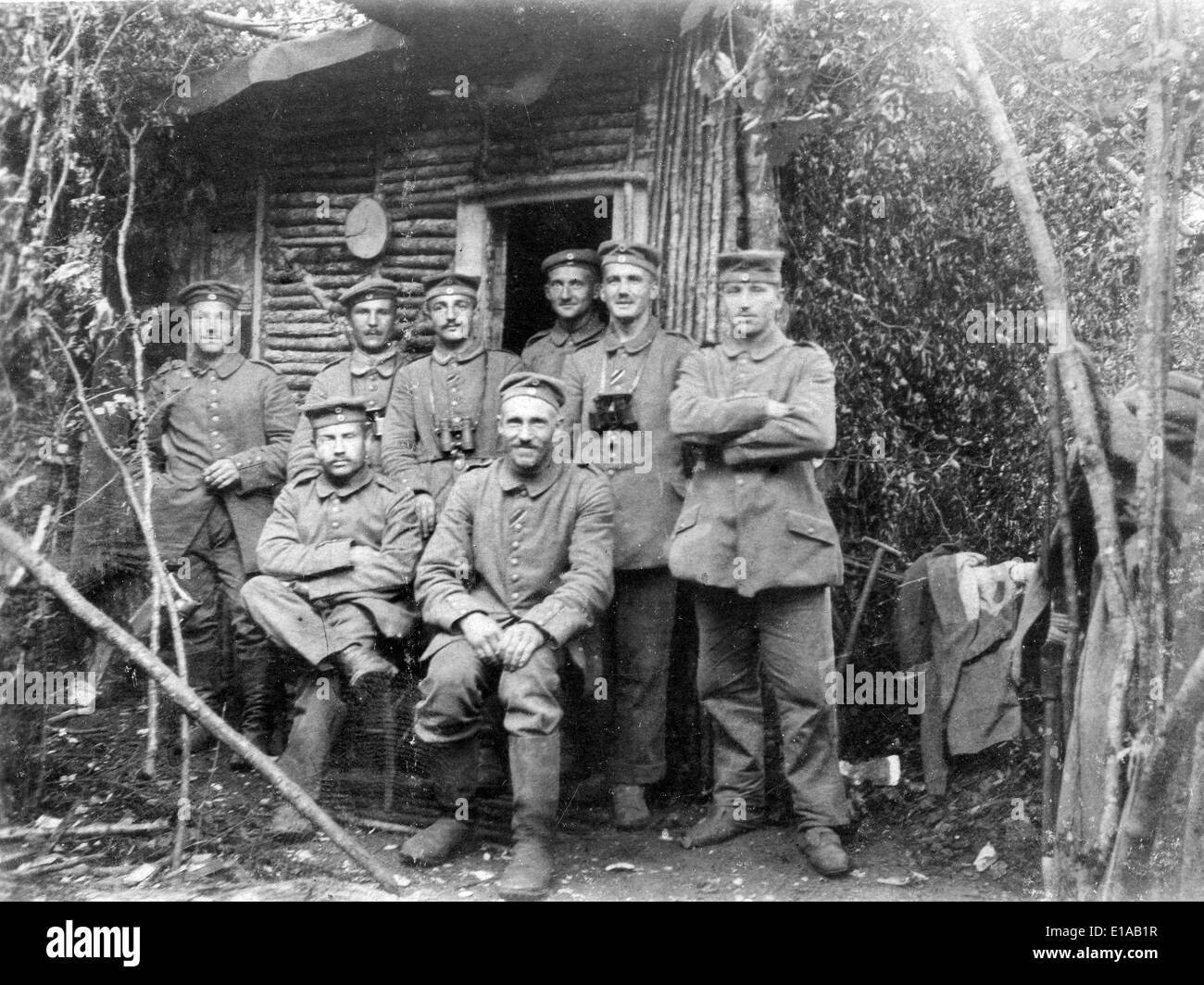 World War 1 German soldiers relaxing off duty France WW1 1916 - Stock Image