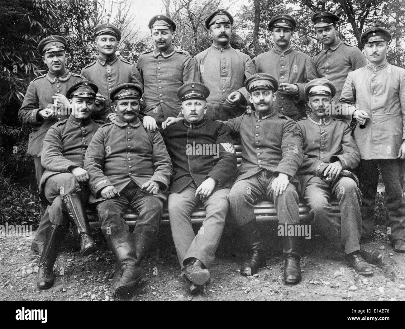 World War 1 German soldiers relaxing off duty some with cigars France WW1 1916 - Stock Image
