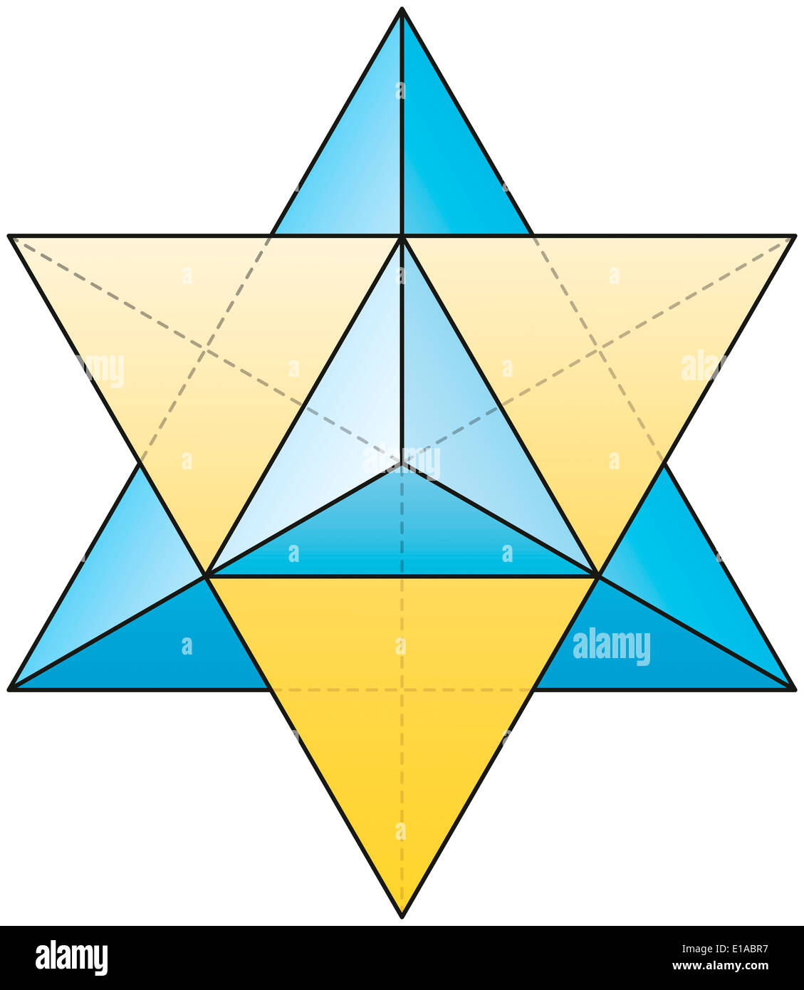 Merkabah - Star Tetrahedron - A stellated octahedron, or stella octangula, can be seen as a 3D extension of the Star of David. - Stock Image