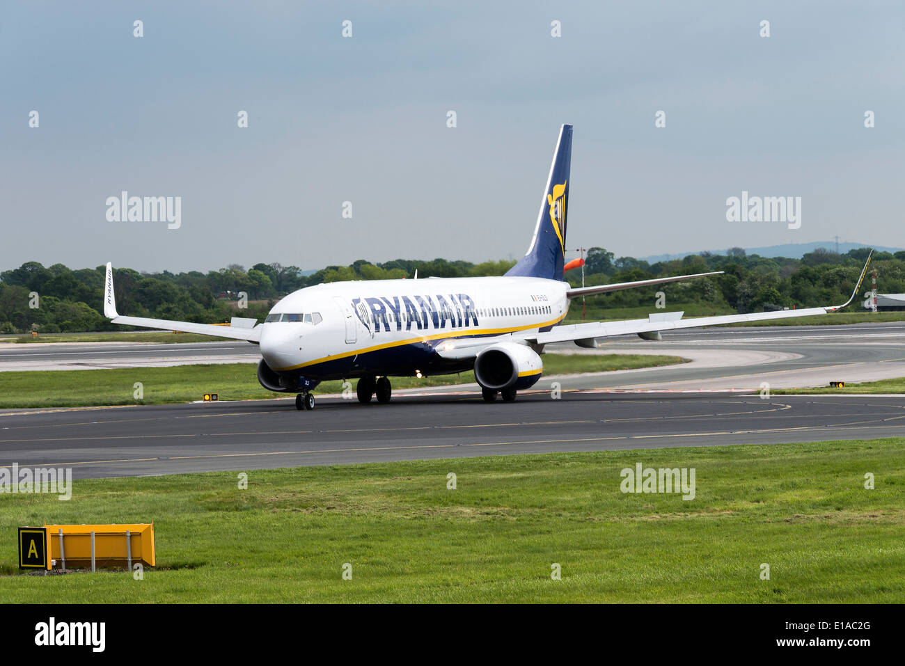 Ryanair Boeing 737-8AS Winglets Airliner EI-DLD Taxiing at Manchester International Airport England United Kingdom UK - Stock Image