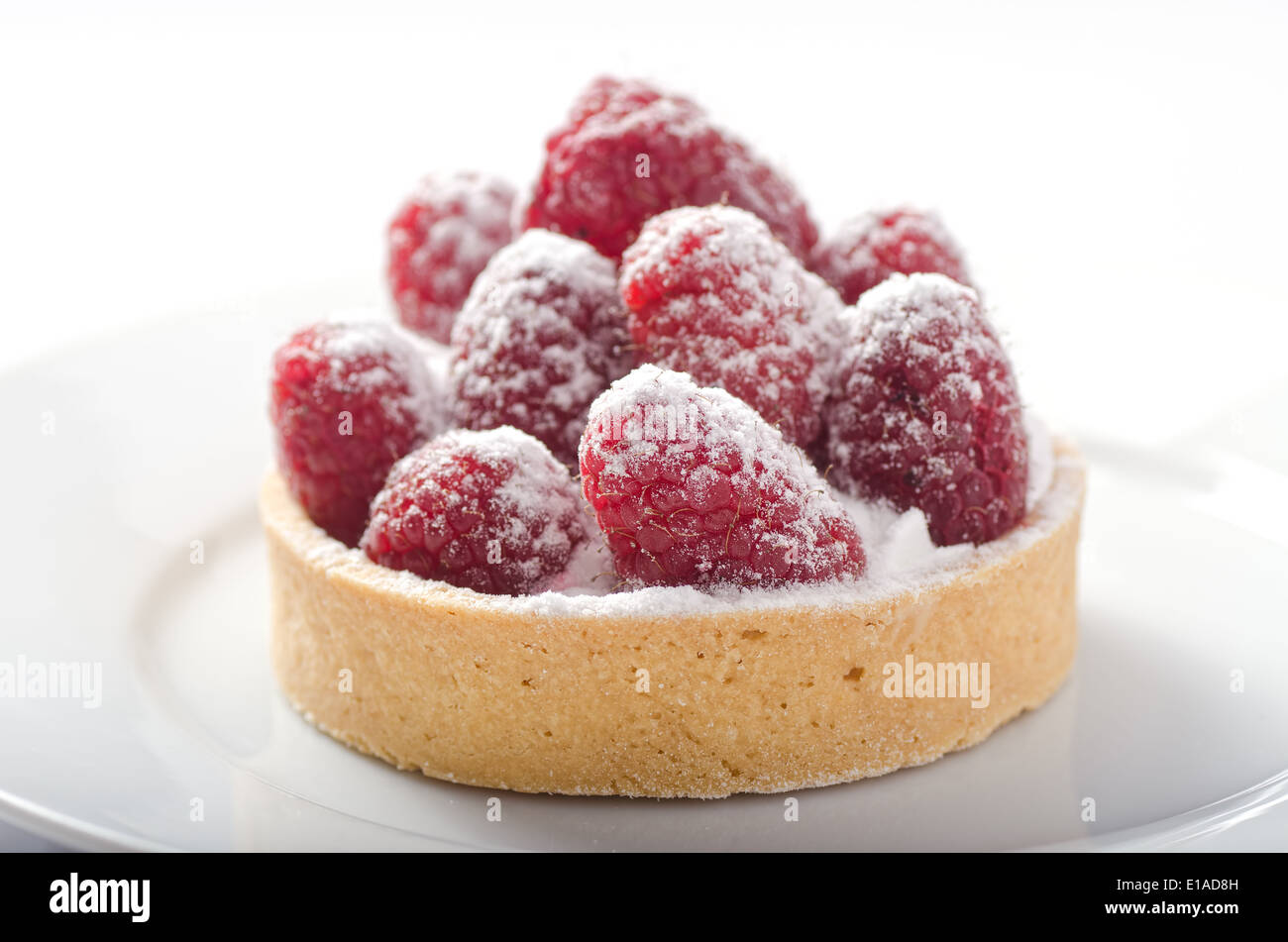 A delicious fresh raspberry tart dusted with icing sugar. - Stock Image