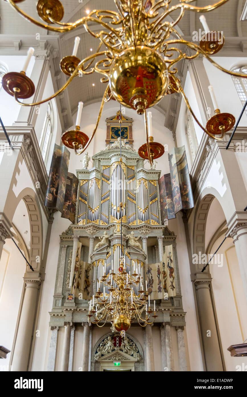 Iterior of famous Westerkerk Protestant church on Prinsengracht Amsterdam - Stock Image