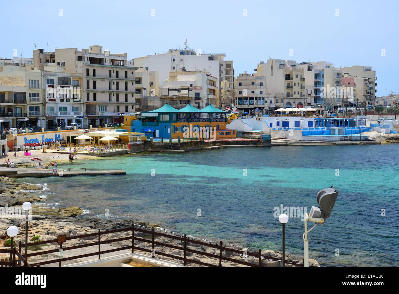 Seafront promenade, Buġibba, Saint Paul's Bay (San Pawl il-Baħar), Northern District, Republic of Malta Stock Photo