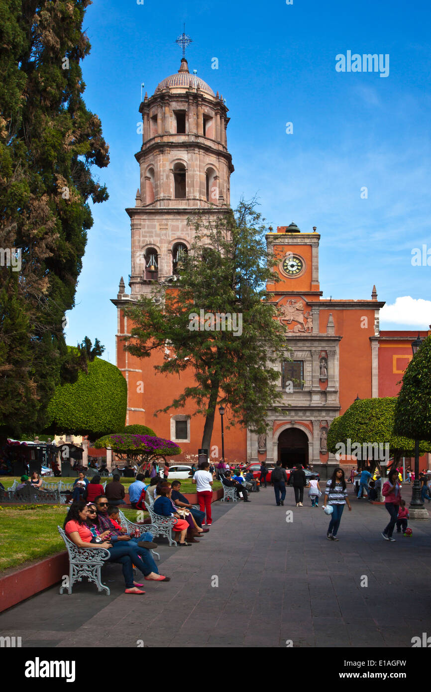 The historic CHURCH OF SAN FRANCISCO in the center of the city of QUERETARO - MEXICO - Stock Image