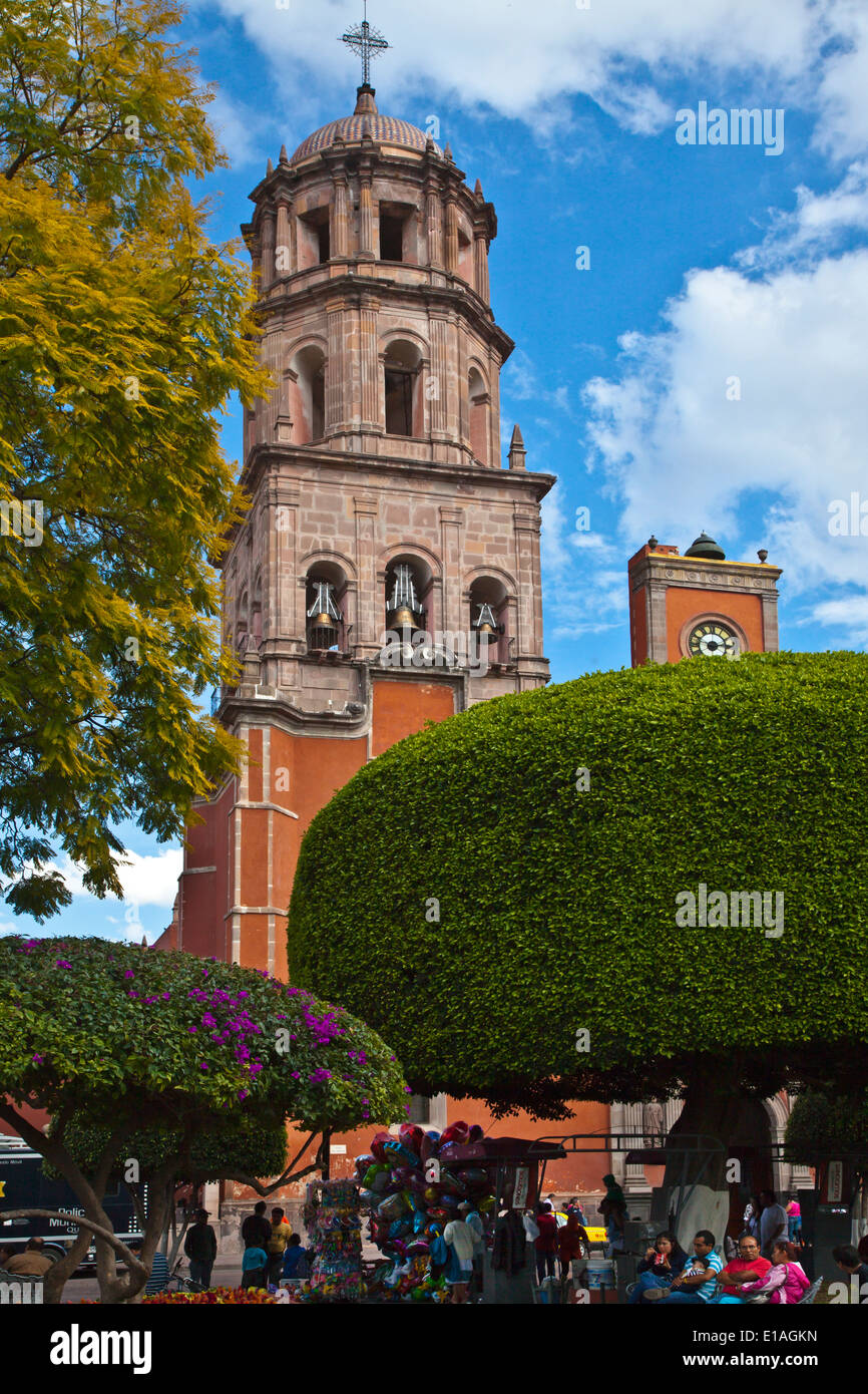 The historic CHURCH OF SAN FRANCISCO in the center of the city of QUERETARO - MEXICO - Stock Image