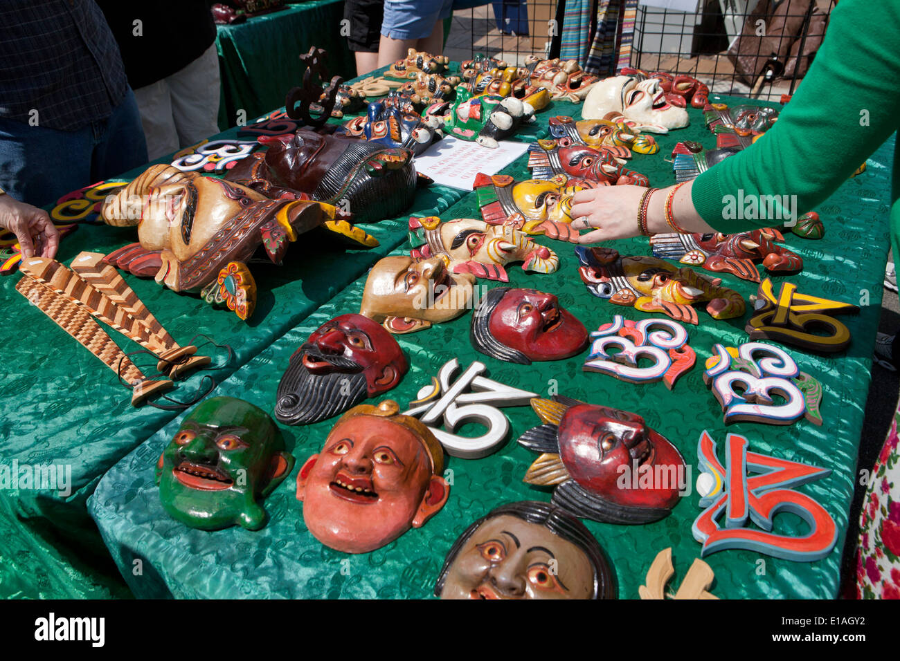 Hand carved wood Nepali masks - Stock Image