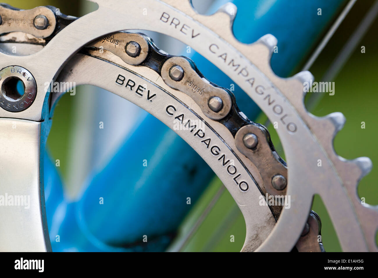 Campagnolo anodized aluminum bicycle chainrings - Stock Image