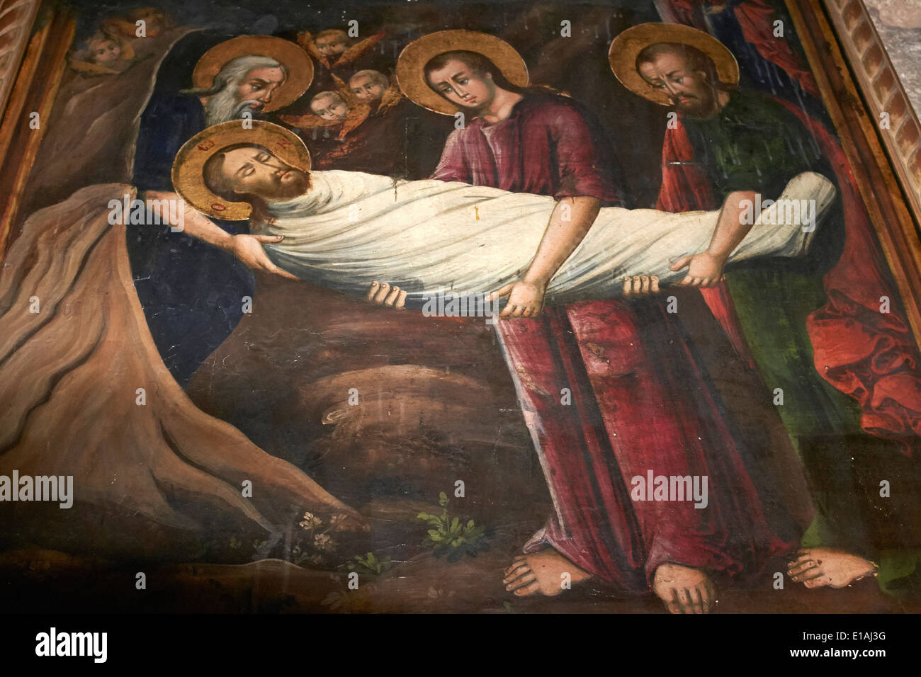 Greek icon of Christ being laid in the tomb dated 1859, Church of the Holy Sepulchre, Jerusalem, Israel - Stock Image
