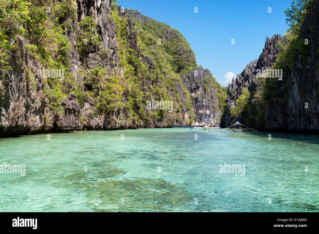 Island hopping with traditional banca boat in El Nido , Palawan - Philippines . - Stock Image