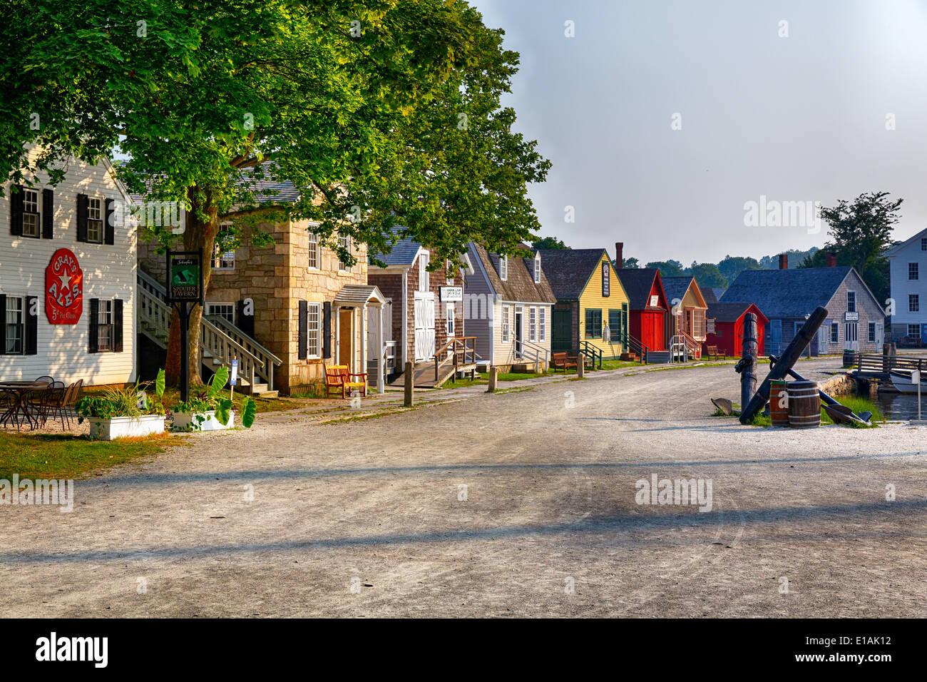 Historic Harbor Houses in Mystic Seaport, Connecticut - Stock Image