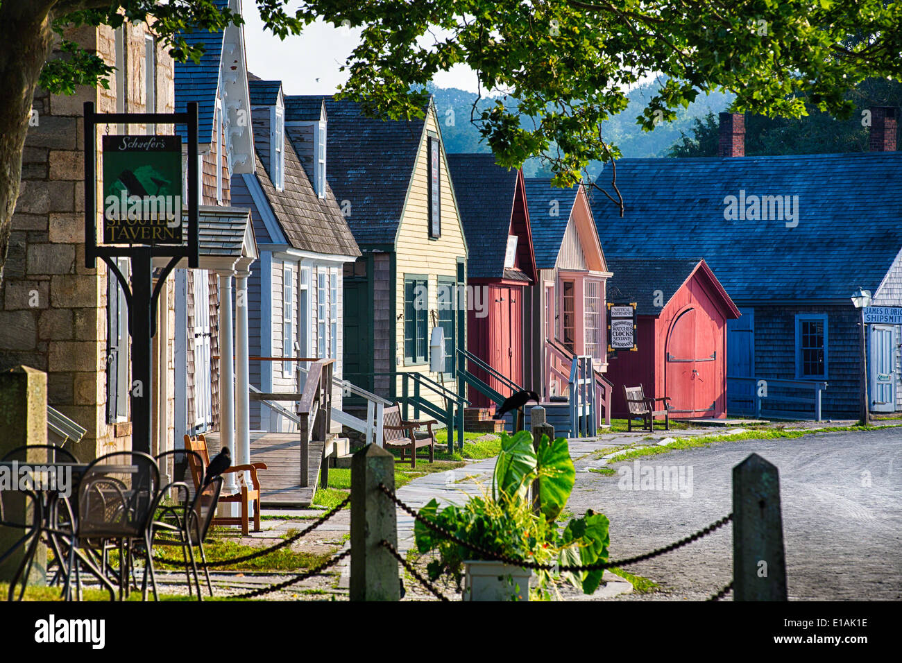 Colorful Historic Houses of a Seafaring Village, Mystic Seaport, Connecticut - Stock Image
