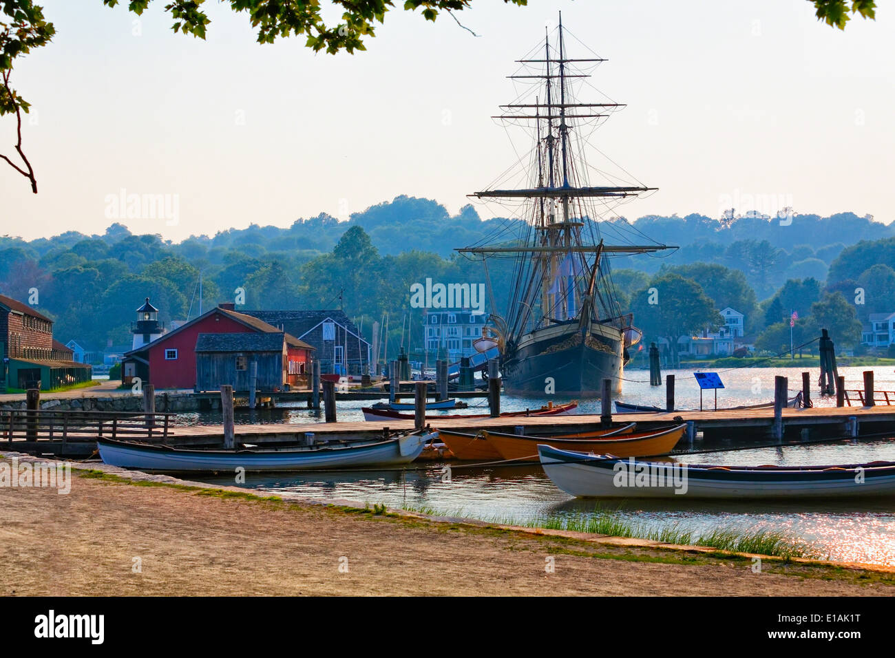 Scenic View of the Historic Mystic Seaport with the Joseph Conrad Tall Ship, Connecticut - Stock Image