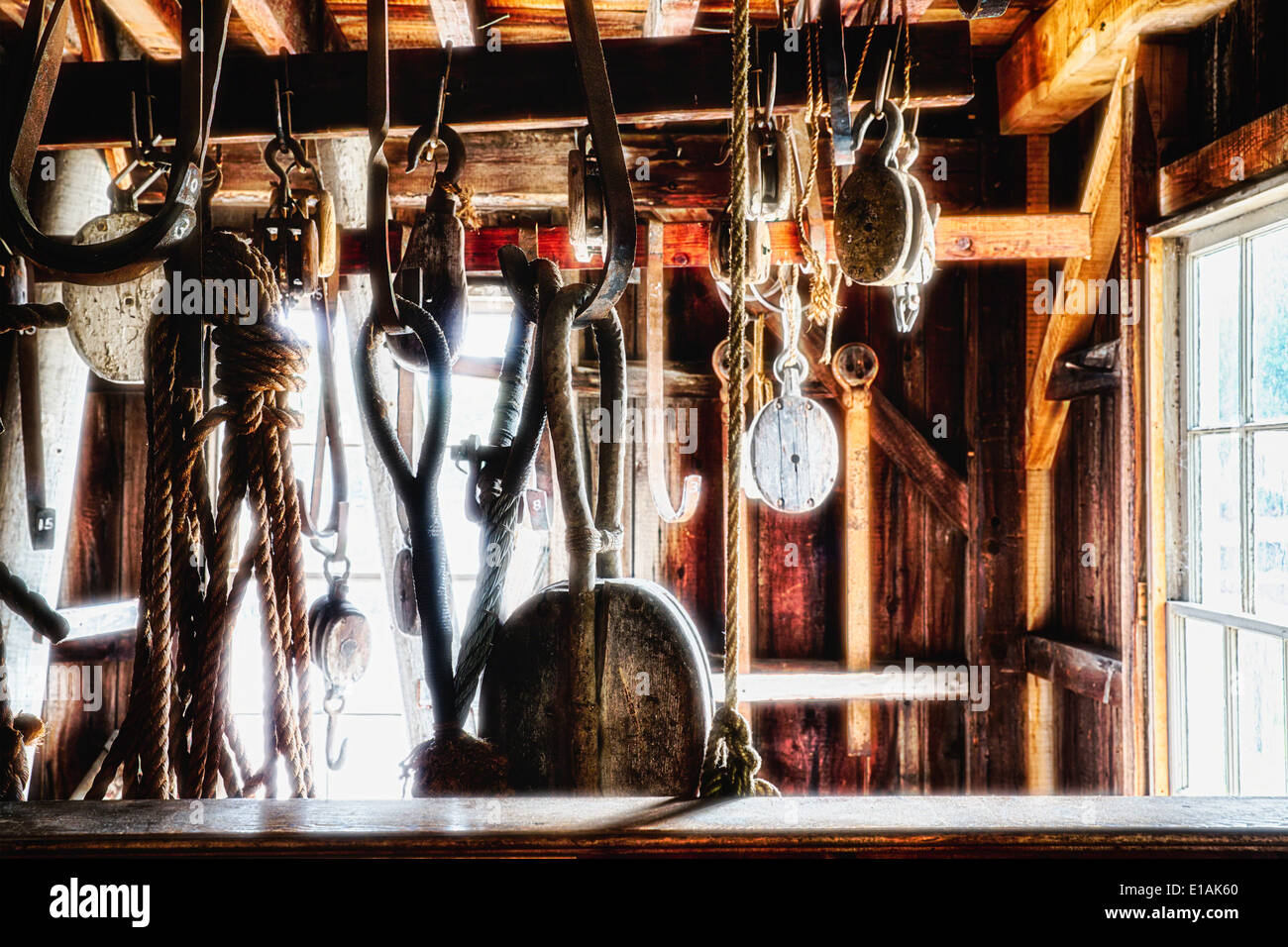 Old Sailboat Rigging Supplies Displayed in a Rigging Loft, Mystic Seaport Museum, Connecticut - Stock Image