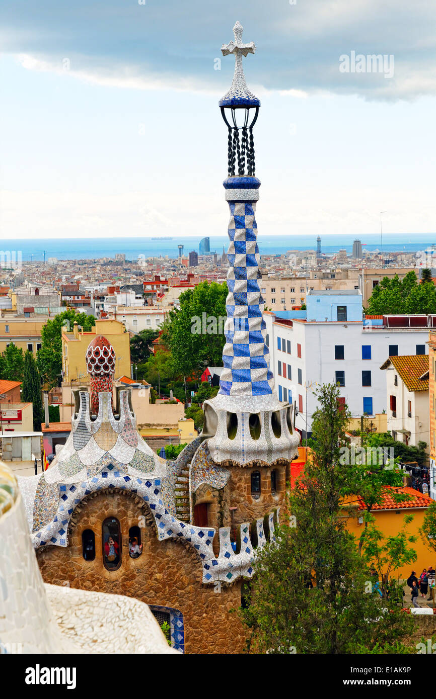 High Angle View of the Gatehouse with White and Blue Tower, Park Guell, Barcelona, Catalonia, Spain - Stock Image
