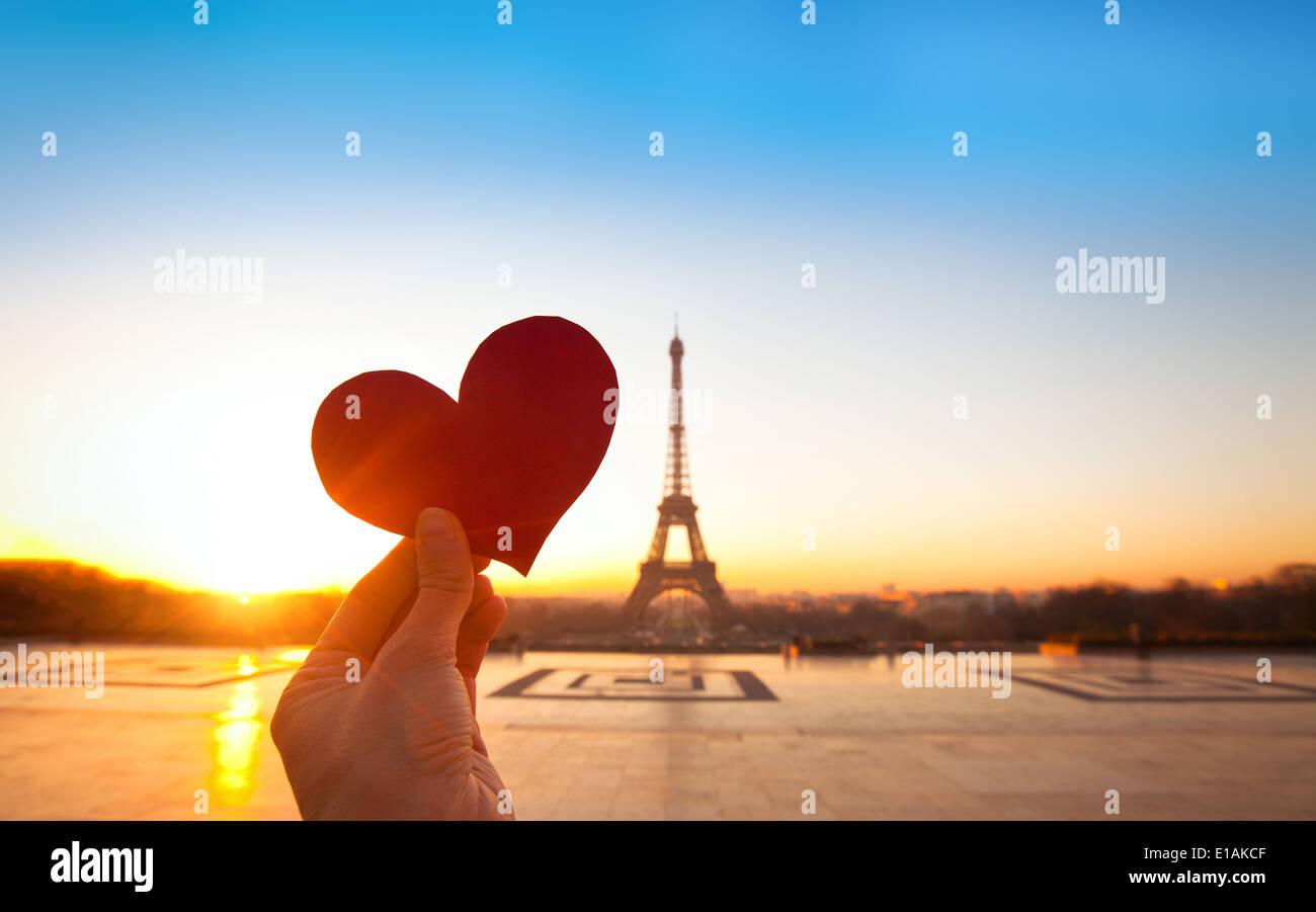 heart in hands, romantic vacations in Paris - Stock Image