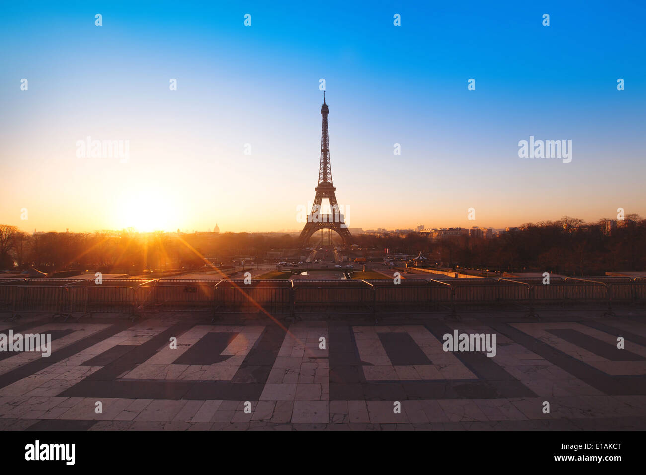 panoramic view of Paris, France - with place for the text - Stock Image