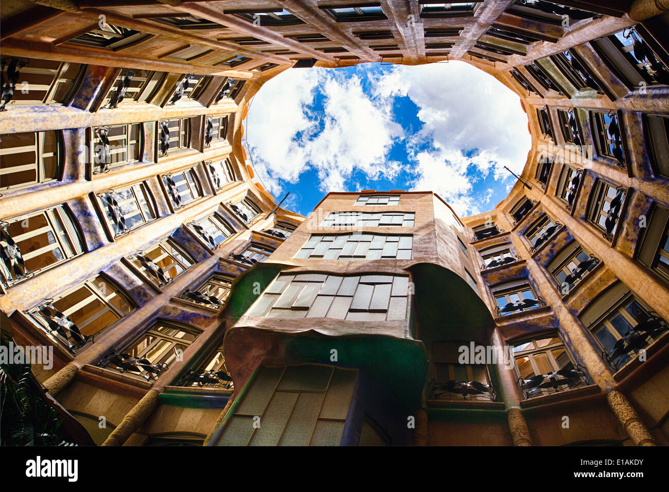 Sky View from La Pedrera, Barcelona, Catalonia, Spain - Stock Image