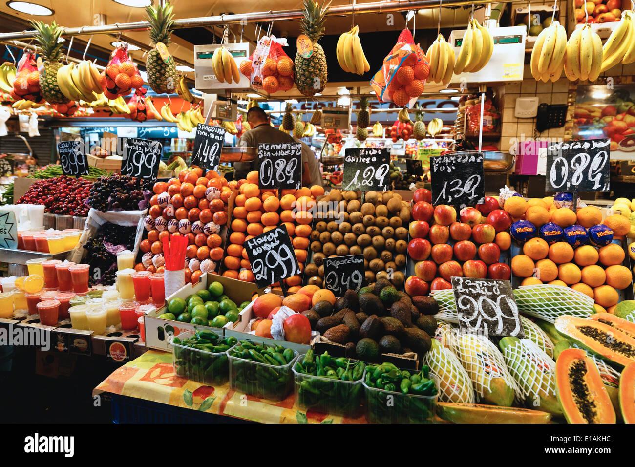 Fruits and vegetables for sale at La Boqueria Market, Barcelona, Catalonia, Spain Stock Photo