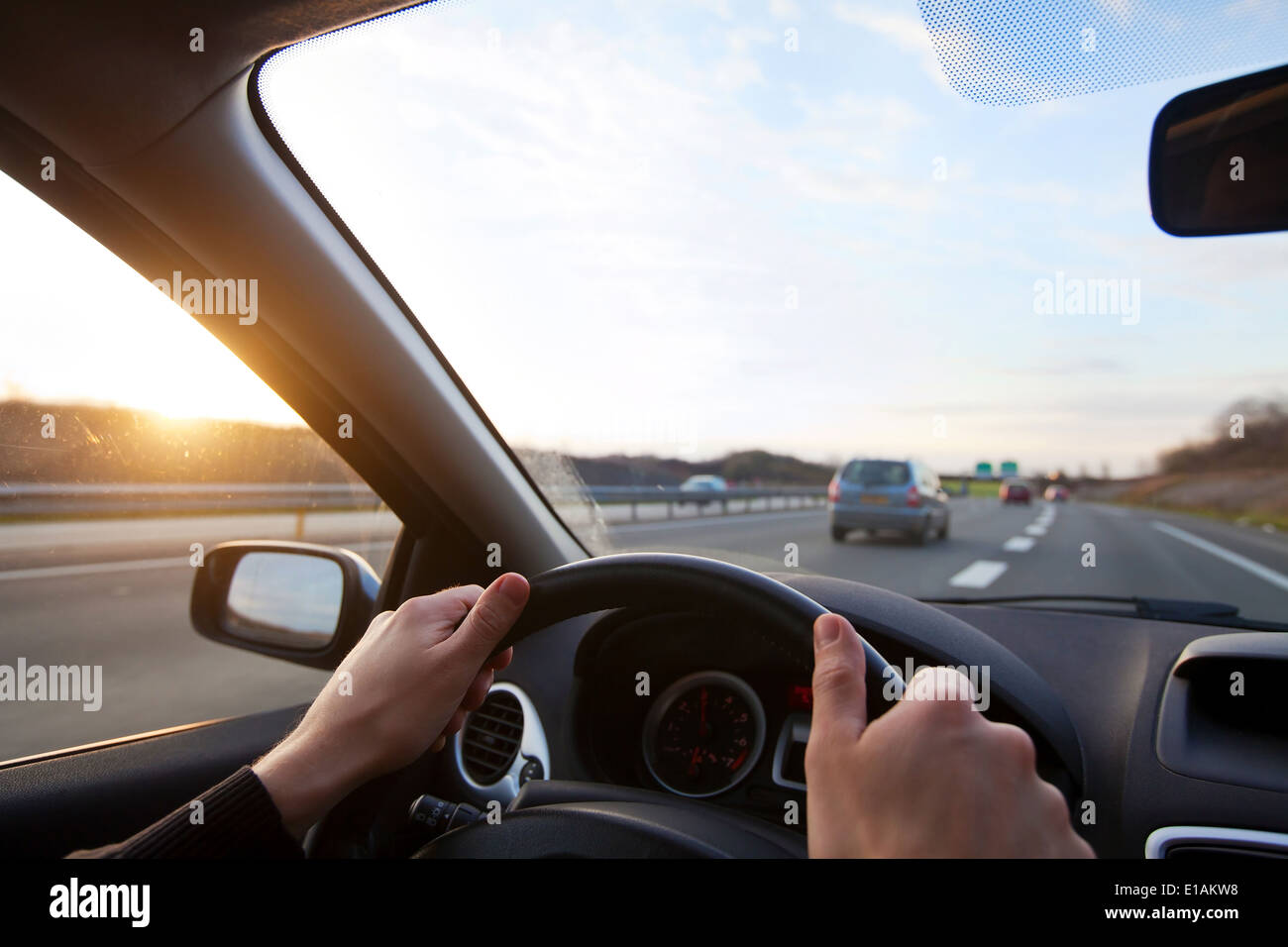 driving on highway - Stock Image