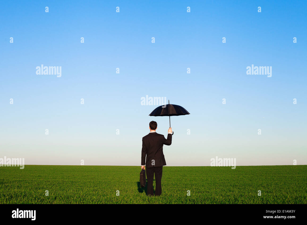 insurance concept, businessman in the field - Stock Image