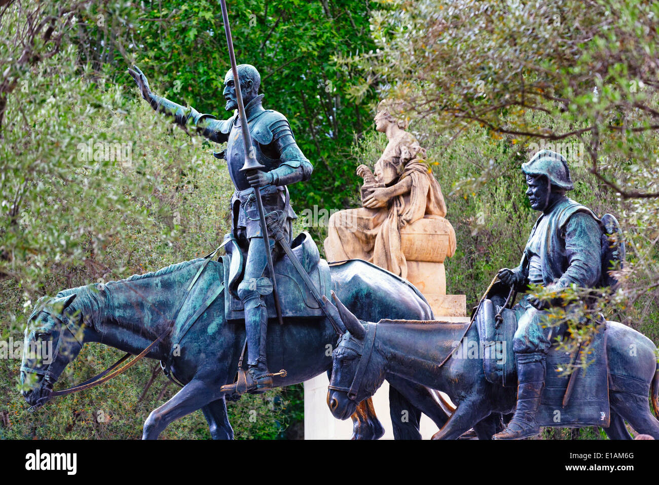 Close up View of Equestrian Statues of Don Quixote and Sancho Panza at the Cervantes Monument, Plaza de Espana, Madrid, Spain - Stock Image