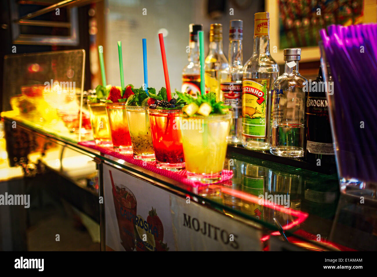 Close Up View of Colorful Cocktails on aT apas Bar Counter, Madrid, Spain - Stock Image