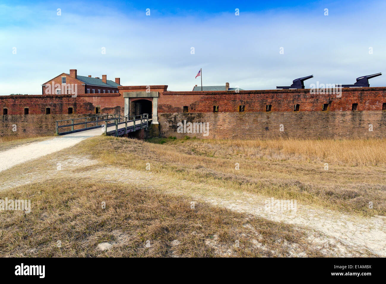 Entrance Gate and Walls of a Brick Fort, Fort Clinch, Nassau County, Florida - Stock Image