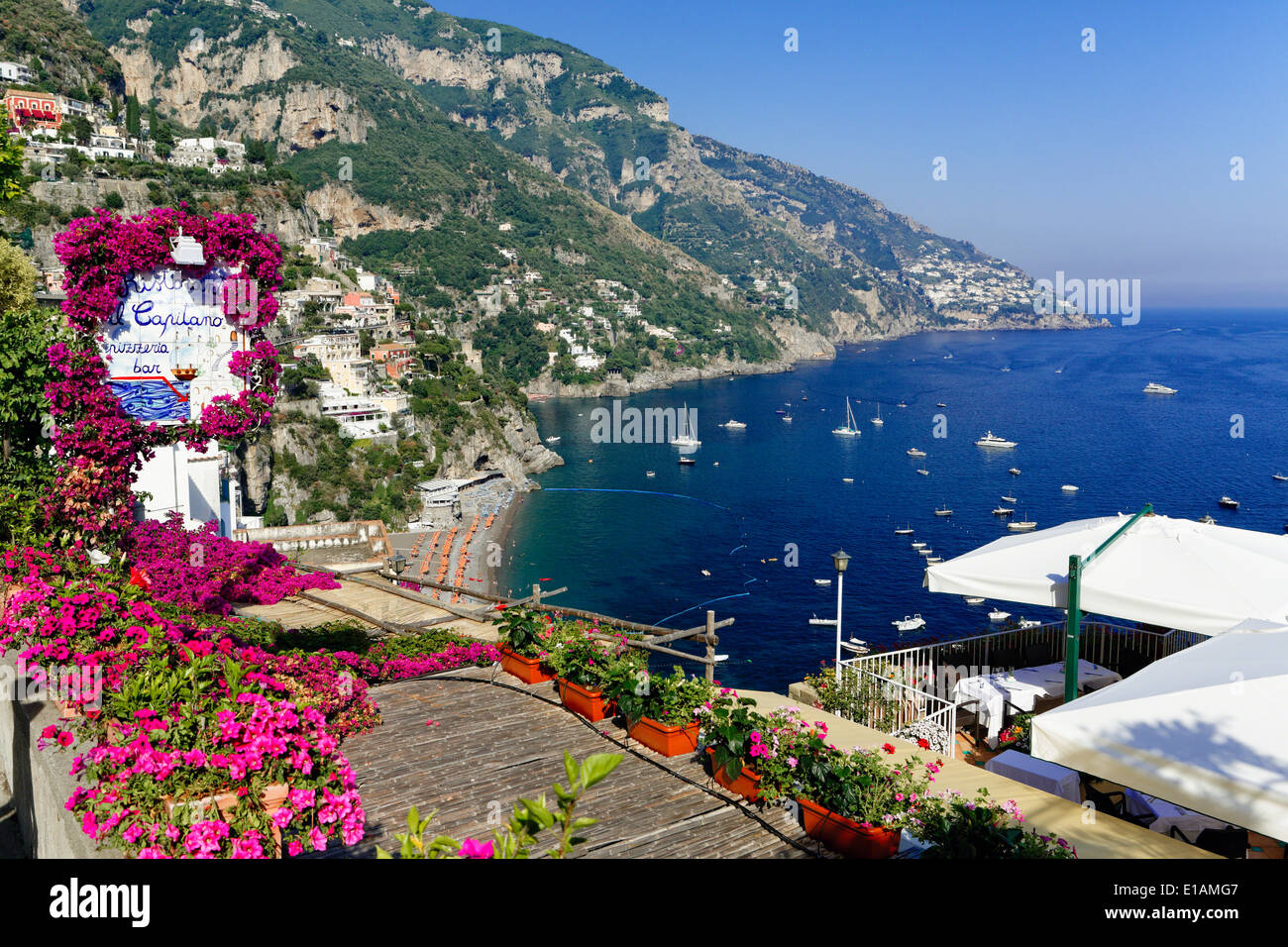 High Angle View of a Beach and Coast from a Hillside Terrace, Positano, Campania, Italy - Stock Image