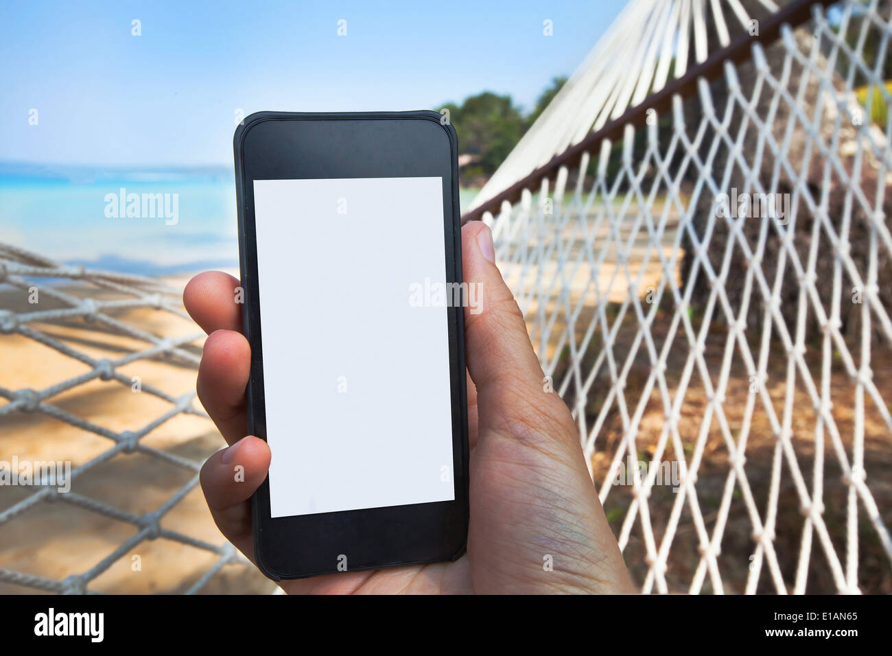 internet connection on the beach - Stock Image