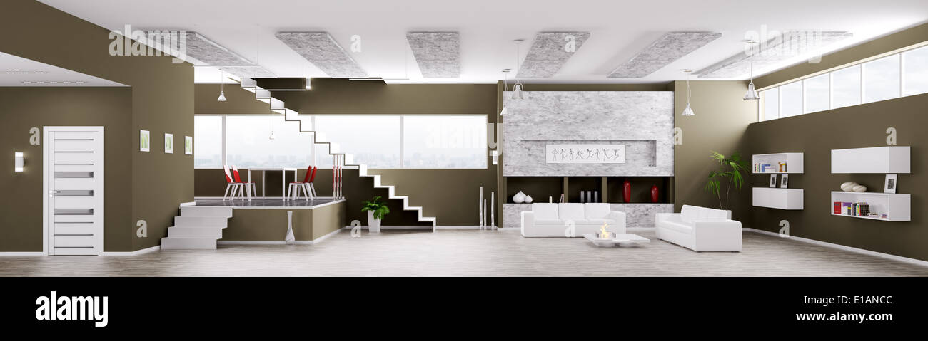 Interior of modern apartment living dining room hall panorama 3d render & Interior of modern apartment living dining room hall panorama 3d ...