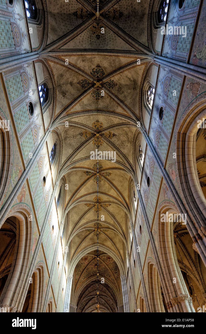 Ceiling of the nave of a famous medieval European cathedral; high gothic architecture; high vaulted ceiling; clerestory roof; Uppsala cathedral - Stock Image