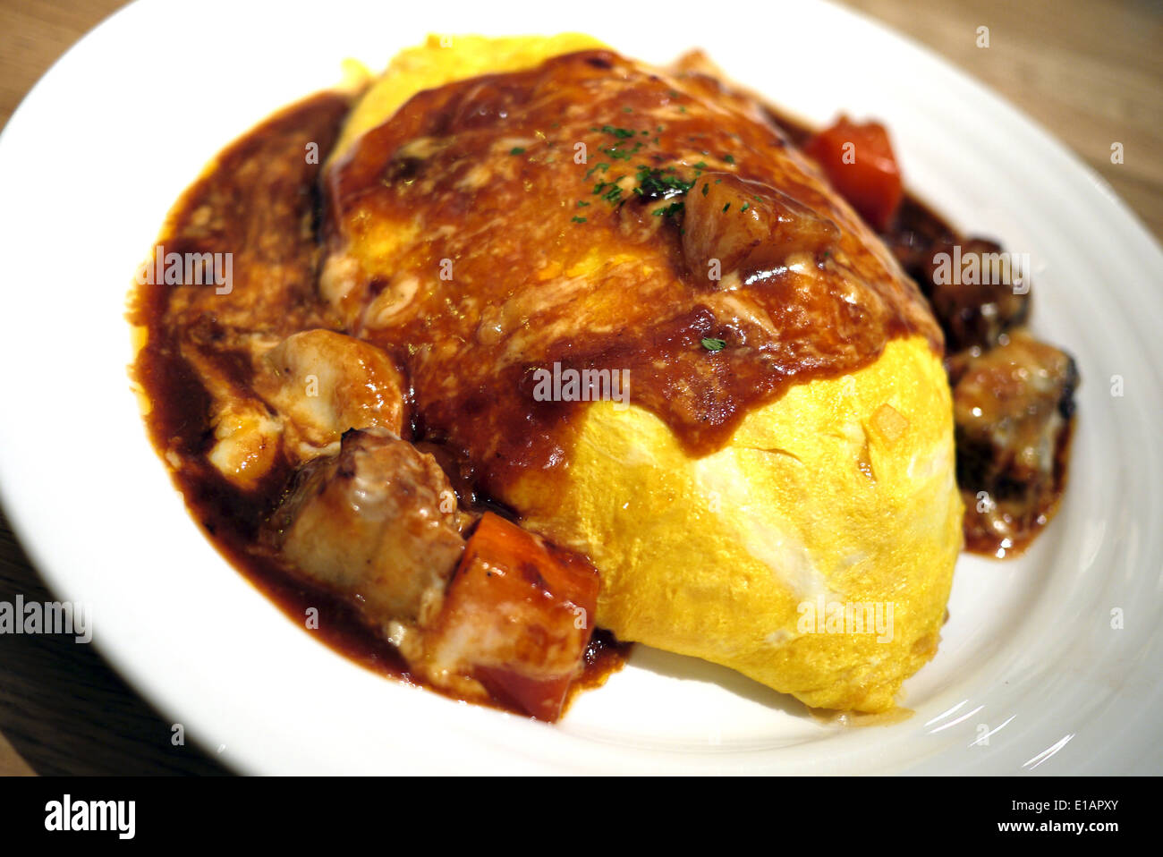 Japanese Curry Omelette Rice with stew beef - Stock Image