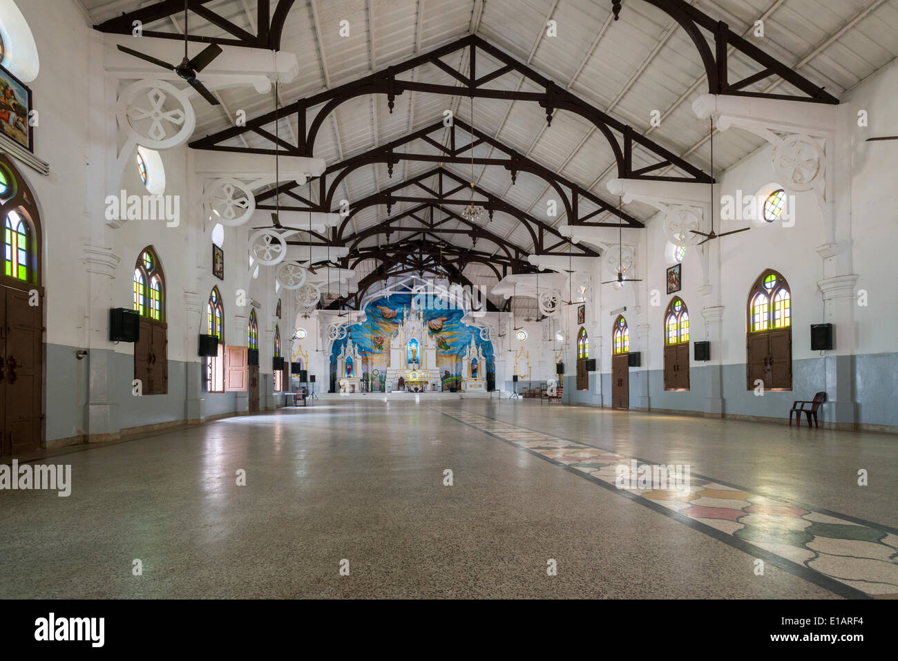 Interior view, St Mary's Church, Vizhinjam, Kerala, India - Stock Image