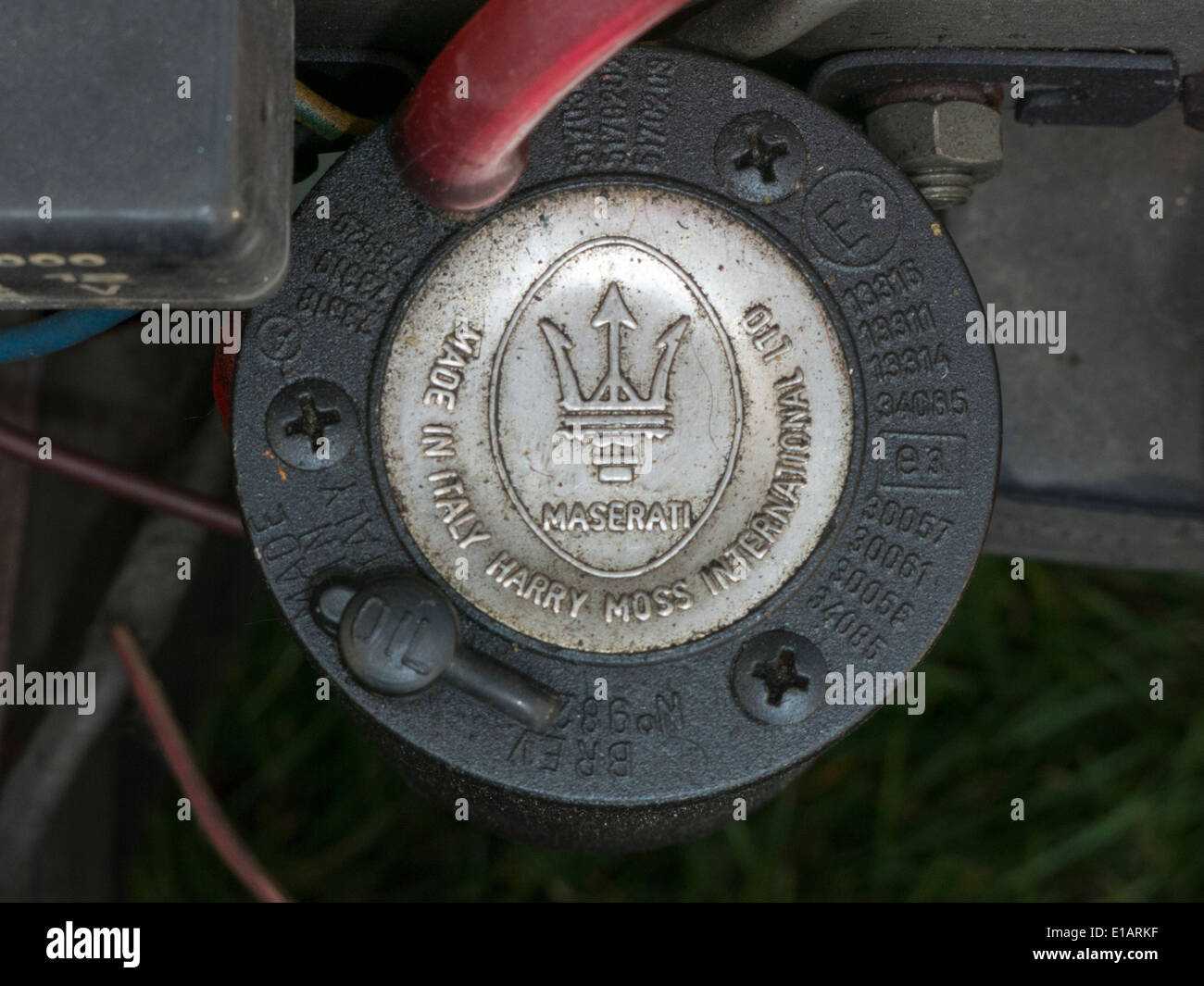 Maserati Air Horn fitted to Ford Anglia - Stock Image