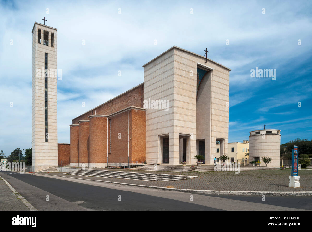 Church with a tower, 1935, monumental architecture, Sabaudia, Lazio, Italy - Stock Image
