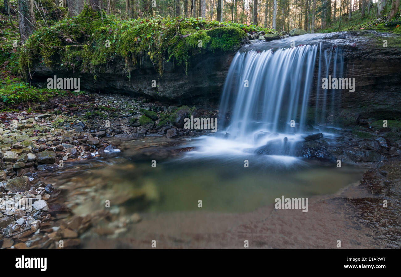 Waterfall on a tributary of the Taugl river, Hallein District, Salzburg, Austria Stock Photo