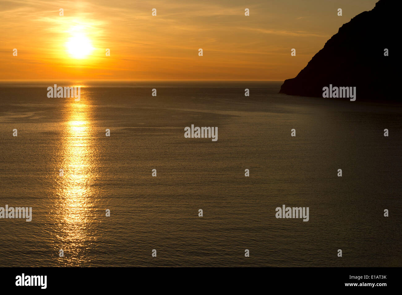 Sunset, Viðoy, Faroe Islands, Denmark Stock Photo