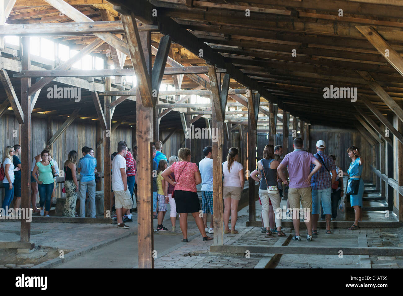 Europe, Poland, Silesia, Oswiecim, tourist at Auschwitz-Birkenau, German Nazi Concentration Camp and Extermination Camp, Unesco - Stock Image